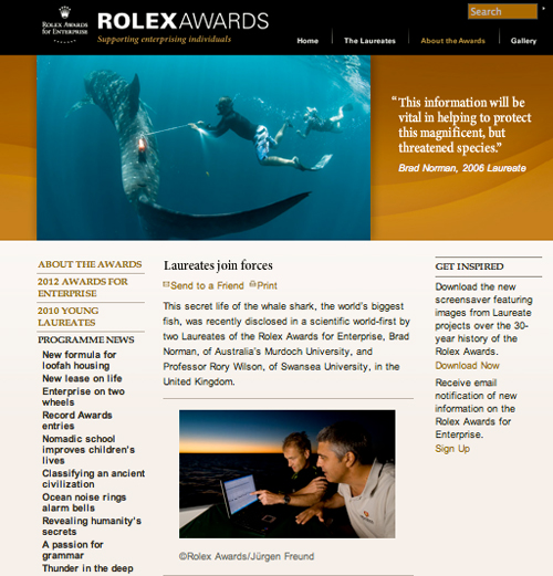 Rolex website on Rolex Laureates Rory Wilson & Brad Norman