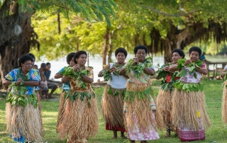 The traditional Fijian communal dance is called a 'meke' combines dancing, singing, chanting, clapping and drum beating.