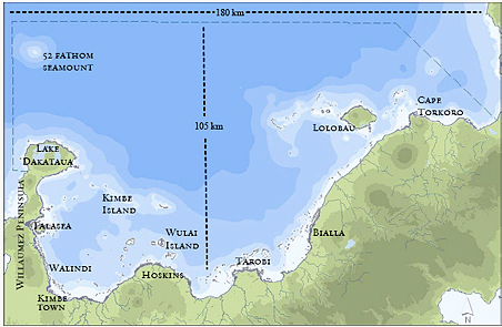The Kimbe Bay MPA network boundary is a large area encompassing 13,000km2 or 1,336,594 hectares (3,302,723 acres) offshore islands and reefs including the 52 fathom seamount globally significant area for oceanic species.